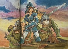 Illustrations done for the Nausicaa manga ===== Manga began running in monthly 'Animage' in Feb. 1982, collected in order of appearance ===== Notes: I believe I drew this near the beginning of serialization, but I can't remember what I drew it for.