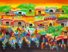"The Pahiyas Festival is one of my favorite paintings from one of my favorite contemporary artists, Manuel Baldemor. It captures the Filipino 'sense of space' where all space is occupied with objects, as one might see in a Filipino house, w/c is the way Filipinos also relate with each other -- close connections --a sense of community and multitude. Also, the Filipino sense of vibrant colors as shown in photos of the actual fiesta (see my post ""Pahiyas Festival"" on this same board)."