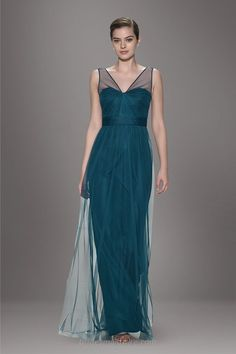 Teal Blue Sheer V Neck Chiffon And Tulle A Line Long Bridesmaid Dress