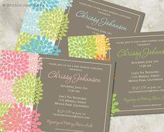 Baby Shower Invitation, Mod Blooms, Boy Girl or Gender Neutral - a printable invitation