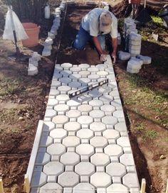16 Keyhole concrete driveway paver molds make of pavers. USA Made Fast Ship Concrete Driveway Pavers, Paver Walkway, Walkways, Driveway Edging, Stone Walkway, Diy Driveway, Stone Paths, Stone Driveway, Driveway Entrance