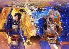 Tōken Ranbu - Mikazuki Munechika and Kogitsunemaru Touken Ranbu, Anime Love, Anime Guys, Anime Manga, Anime Art, Natsume Yuujinchou, Bishounen, Arte Popular, Noragami
