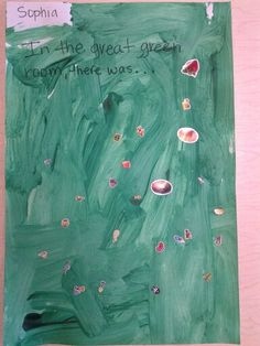 Simple Goodnight Moon art project. Have the children paint with green paint. Once its dry I gave them  a sticker box and let them put stickers of things they want in their great green room. Simple and very open ended
