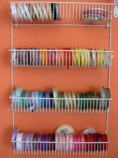 Ribbons Storage by Craftlover - Cards and Paper Crafts at Splitcoaststampers - Ribbons Storage - Craft Paper Storage, Sewing Room Storage, Sewing Room Organization, My Sewing Room, Sewing Rooms, Diy Storage, Storage Ideas, Ribbon Organization, Ribbon Storage