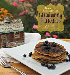 Grain Free Coconut Flour Blueberry Pancakes www.PrimallyInspired.com