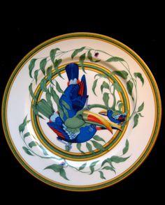 Authentic HERMES Porcelain DINNER plate, Toucans, Made in France, 11 /28 cm