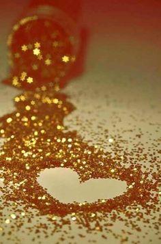 Glitter gold heart iPhone wallpaper
