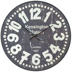 Vintage Kensington Station Wall Clock with Raised Numerals Made from metal and battery powered finished in a shabby style. This clock measures at Meters.