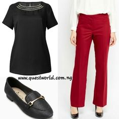 Shell top size 12 #5500 Smart Trousers size 12 #6500 Point Shoes size 5/38 #10000 www.questworld.com.ng www.konga.com/QUEST-WORLD-BOUTIQUE