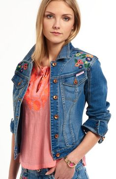 Shop Superdry Womens Embroidered Denim Jacket in Surf Blue   Multi. Buy now  with free delivery from the Official Superdry Store. 90a6bd4e6a9