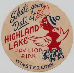 Vintage Roller Skating at Highland Lake Pavilion Rink in Winsted, Connecticut Vintage Labels, Vintage Signs, Vintage Ads, Vintage Prints, Vintage Packaging, Vintage Type, Roller Skating Rink, Roller Rink, Roller Derby