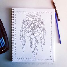 Lace Dream Catcher Coloring Page Instant by RobinElizabethArt