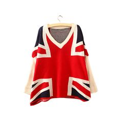 Union Jack Print V Neck Batwing Jumper ST0230035 ($15) ❤ liked on Polyvore featuring tops, sweaters, red, red v neck sweater, vneck sweater, red knit sweater, red jumper and union jack sweater