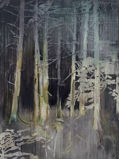 Lu Song aka 吕松 (Chinese, b. Beijing, China) 夜勤 (Night Shift), 2014 Paintings: Acrylics on Canvas Abstract Landscape, Landscape Paintings, Misty Forest, Charcoal Art, Artist Sketchbook, A Level Art, Matte Painting, Night Shift, Contemporary Paintings