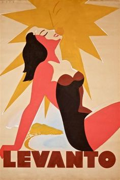 Levanto, Liguria, Spain vintage beach travel poster with bathing beauty sunbathing