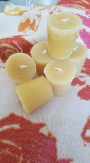 100% pure bees wax from Northern Alberta Canada. Burns at a high temperature and longer than paraffin wax candles. All candles are hand made by a single bee keeper. Wax may very in color due to the different amounts of vegetable matter and trapped honey found in the wax when it is melted into blocks. Wax can very from a pearl white to almost black depending on the location in the hive. Approx 4cm high by 4cm across the top by 3.5cm across the bottom.