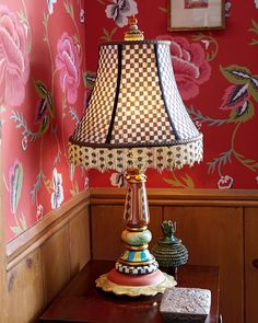 Hand-painted base of terra cotta and wood. Courtly Check polyester-silk dupioni shade with glass-bead fringe. Lamps may vary due to handcrafti Decor, Furniture, Mackenzie Childs, Whimsical Furniture, Room Lamp, Vintage Furniture, Lamps Living Room, Whimsical Painted Furniture, Funky Home Decor