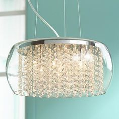 """Possini Euro Crystal Rainfall Glass Drum 17"""" Wide Chandelier for dining room"""
