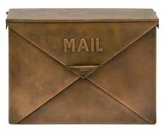 Off Tauba Copper Mail Box by IMAX. Fashioned, Antique look, mail box with hinged lid resembles the look of an envelope zinc galvanized iron sheet @ Should be used under a covered enviorment