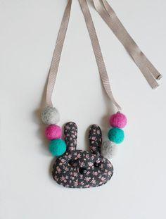 the | bunny pompom | necklace - WUNWAY Pompom Necklace, Diy Necklace Bracelet, Crochet Necklace, Necklaces, Bracelets, Diy Bow, Felt Ball, Girls Accessories, Fabric Art