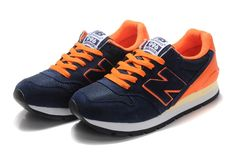 New Balance Running Shoes Navy Blue/Orange Mens Classics Sneakers 996