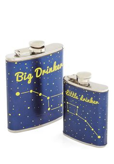 Sippin' in the Stars Flask Set - Blue, Yellow, Silver, Novelty Print, Quirky, Nifty Nerd, Cosmic, Guys