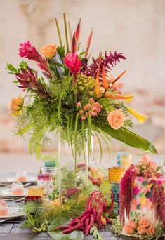 Tropical Floral Arrangements   A Vintage Meets Tropical Boho Wedding Inspiration at the Providence Cotton Mill - A PRINCESS INSPIRED BLOG #tropicalwedding #tropicalflowerarrangements #tropicalweddingdecor #hawaiianweddingflowers #tropicalweddingtable #bohowedding #colorfulbohowedding Tropical Wedding Centerpieces, Beach Centerpieces, Tropical Floral Arrangements, Tropical Wedding Decor, Wedding Reception Centerpieces, Hawaiian Wedding Flowers, Christmas Wedding Flowers, Diy Wedding Flowers, Bridesmaid Flowers