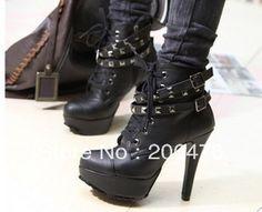 Punk boots high fashion motorcycle boots thin heels platform martin boots rivet women's shoes $31.47
