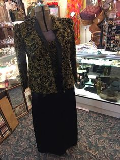 BLACK & GOLD VINTAGE SEQUIN WOMEN'S LONG LINED FLOOR LENGTH GOWN SIZE 12/14  | eBay