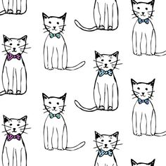 Ink and watercolor cats with bow ties by Abby Galloway