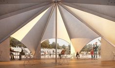 Designed for refugee camps, the Maidan Tent is a multifunctional 200-square-meter structure can host up to 100 people.