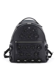 Floral-Appliqué+Leather+Backpack,+Black+by+Fendi+at+Neiman+Marcus.