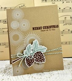 Christmas Pine Cones Card by Dawn McVey for Papertrey Ink (October 2012)