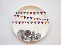 Village Wall Plate from ZuppaAtelier on Etsy. Saved to Happy Home. Shop more products from ZuppaAtelier on Etsy on Wanelo. Pottery Painting, Ceramic Painting, Ceramic Art, Hanging Plates, Plates On Wall, Plate Wall, Hand Painted Plates, Ceramic Plates, Ceramic Pottery