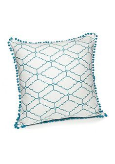 Ivy Hill Home Tile Geo Decorative Pillow in Larkspur - This updated geometric print pillow is adorned with a unique pompom trim.