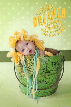 Hand Knit Baby Flower Hat in Green with Yellow by ittybittybluesky,