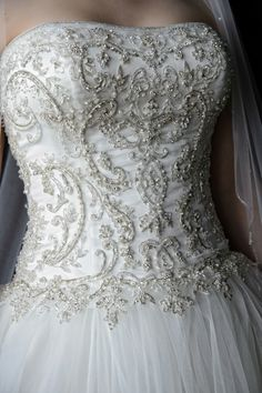 embellished bodice, ballgown. Wedding at Hurst Conference Center, by Ivey Photography.