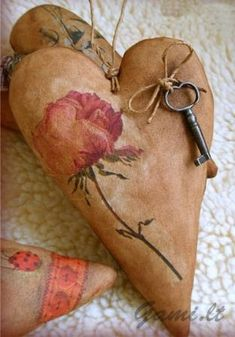 Stained & Stuffed...floral heart...with an old key.
