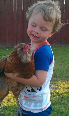 Kids and chickens...precious