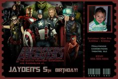 The Avengers Birthday Invitation - Avengers movie ticket Invitation - print your own