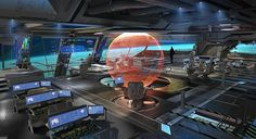 Large spaceship control room with holo-sphere in center.  #spaceship  #starship  #controlroom