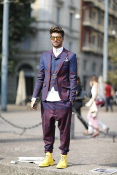 This @Vivienne Westwood ensemble looks just as amazing on the streets of #Milan as it did on the AW13/14 runway;  kudos to this guy for pulling...