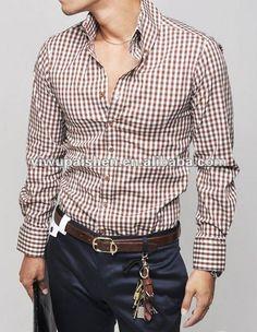 NEW Men's Classic Fashion Slim Plaid Long Sleeve Shirt