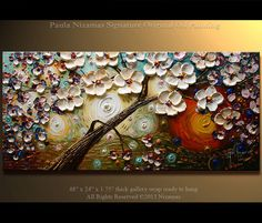 Tree Painting  Cherry Tree Oil acrylic Painting  48 x by Artcoast