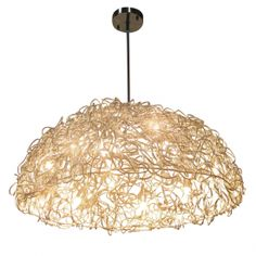 Chiari Pendant with woven steall wire shade and polished chrome canopy - Lusive Decor