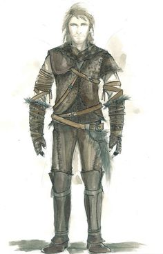 """Costume illustration for """"The Hunstman"""" (Chris Hemsworth) from 'Snow White and the Huntsman' 2012. Design by Colleen Atwood."""