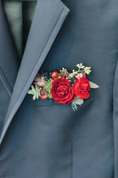 Wedding Flowers pocket square boutonniere hybrid - Get wedding inspired like this next bride by taking a trip to your local home improvement store's paint aisle. Groomsmen Boutonniere, Groom And Groomsmen, Boutonnieres, Groom Attire, Red Rose Boutonniere, Corsage And Boutonniere, Red Wedding, Floral Wedding, Wedding Bouquets