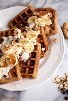 Maca Almond Banana Chocolate Chip Waffles // Grain & Dairy Free via Nutritionist in the Kitch