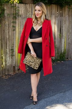 12.13 holiday party (Zara coat + Elizabeth & James dress @ Cakewalk Style + Sam Edelman heels + Zara sequin clutch)