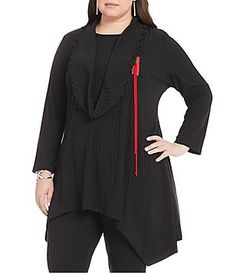 IC Collection Plus Long Sleeve Knit Tunic with Removable Scarf